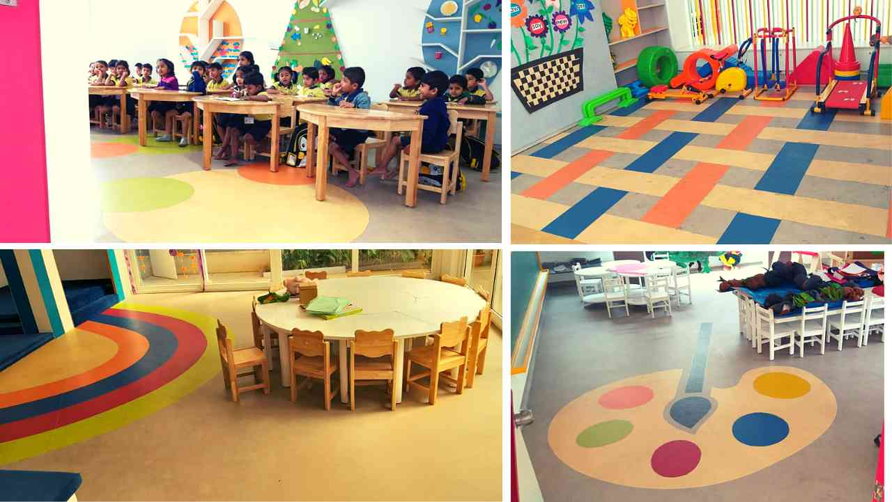 vinyl flooring in bangalore, Shanthinikethana Global School flooring eductaion sector vinyl flooring
